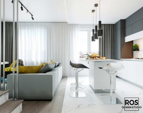 Дизайн дворівневої квартири в с.Раменів, Площа 79м2, Стиль сучасний