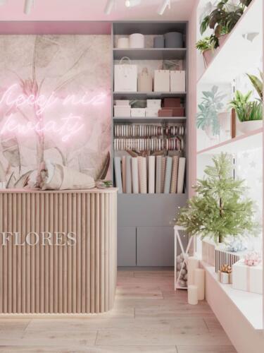 Магазин квітів в Польщі Площа: 18м2 Стиль: сучасний